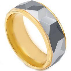 COI Tungsten Carbide Gold Tone Silver Faceted Ring-TG4444
