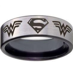 **COI Titanium Black Silver Superman Wonder Woman Ring-4449