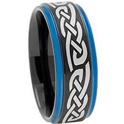 COI Titanium Black Blue Celtic Step Edges Ring-4453