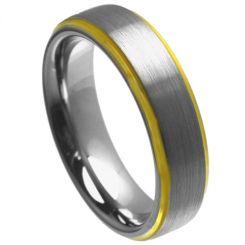 COI Tungsten Carbide Gold Tone Silver Step Edges Ring-TG4457
