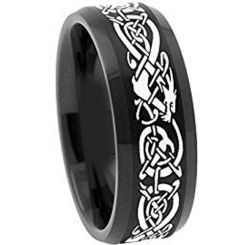 COI Black Titanium Dragon Beveled Edges Ring-4488