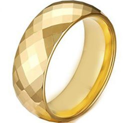 COI Gold Tone Tungsten Carbide Faceted Ring - TG4490