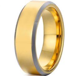 *COI Tungsten Carbide Gold Tone Silver Beveled Edges Ring-TG4491