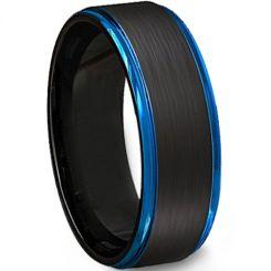 *COI Tungsten Carbide Black Blue Beveled Edges Ring - TG4499