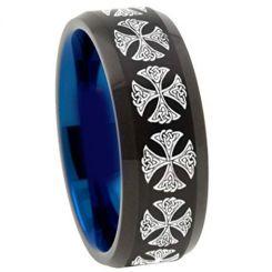 COI Titanium Black Blue Cross Beveled Edges Ring-4516
