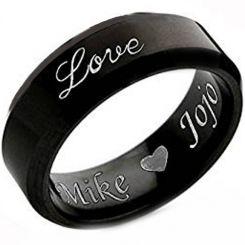 COI Black Titanium Love Ring With Custom Engraving - JT3746