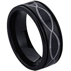 COI Black Tungsten Carbide Infinity Step Edges Ring-TG4534