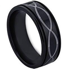 COI Black Tungsten Carbide Infinity Step Edges Ring-TG4534