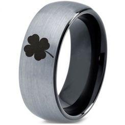 COI Titanium Black Silver Four Leaf Clover Ring-4543