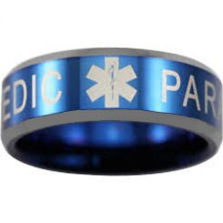 COI Tungsten Carbide Blue Silver Medic Alert Ring-TG4550