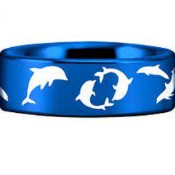 COI Blue Tungsten Carbide Dolphin Pipe Cut Flat Ring-TG4553