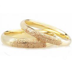 COI Gold Tone Titanium Custom Fingerprint Dome Court Ring-JT3777