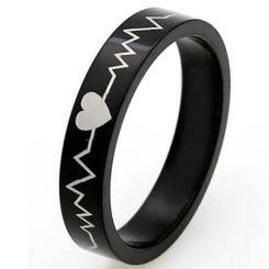 *COI Black Titanium Heartbeat & Heart Pipe Cut Ring-4568