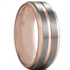 COI Tungsten Carbide Rose Silver Center Groove Ring-TG4597