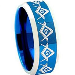 COI Tungsten Carbide Blue Silver Masonic Ring-TG4599