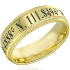 COI Gold Tone Titanium Custom Coordinate Step Edges Ring-4629