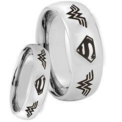 COI Tungsten Carbide Superman Wonder Woman Ring-TG4655