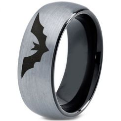 COI Titanium Black Silver Batman Dome Court Ring-4656