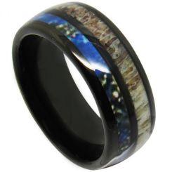 COI Black Tungsten Carbide Deer Antler & Blue Wood Dome Court Ring-TG4709