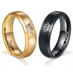 **COI Titanium Black/Gold Tone King Queen Crown Ring-JT4020