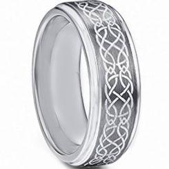 *COI Tungsten Carbide Celtic Step Edges Ring-TG4718