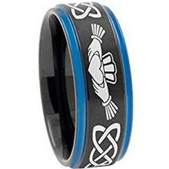 *COI Titanium Black Blue Mo Anam Cara Celtic Ring-4722