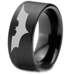 COI Black Tungsten Carbide BatMan Pipe Cut Flat Ring-TG4723