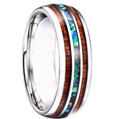 *COI Tungsten Carbide Wood & Abalone Shell Dome Court Ring-TG4727