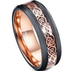 COI Tungsten Carbide Black Rose Dragon Beveled Edges Ring-TG4729