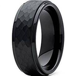COI Black Tungsten Carbide Hammered Step Edges Ring - TG4730