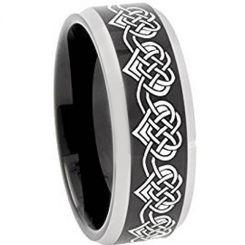 **COI Titanium Black Silver Hearts Beveled Edges Ring-4751