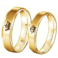 COI Gold Tone Tungsten Carbide King Queen Crown Ring-TG4716