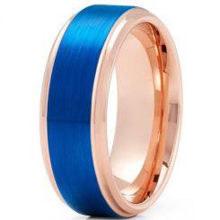 **COI Tungsten Carbide Blue Rose Beveled Edges Ring-TG3895