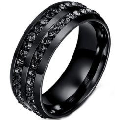 COI Black Titanium Ring With Cubic Zirconia-5221