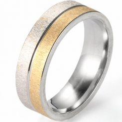 COI Titanium Gold Tone Silver Sandblasted Ring-5223