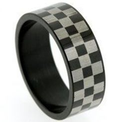 COI Tungsten Carbide Black Silver Checkered Flag Pipe Cut Flat Ring-TG5256