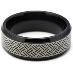 COI Black Tungsten Carbide Laser Pattern Beveled Edges Ring-TG5260