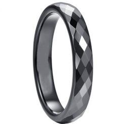 COI Black Tungsten Carbide Faceted Wedding Band Ring-5264