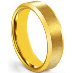 COI Gold Tone Tungsten Carbide Beveled Edges Ring-5266