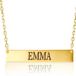 COI Gold Tone Titanium Custom Name Pendant With Stainless Steel Chain-5267