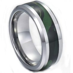 COI Titanium Green Camo Beveled Edges Ring-5282