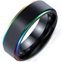 COI Black Titanium Rainbow Pride Step Edges Ring-5283