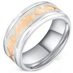 COI Titanium Rose Silver Batman Ring With White Ceramic-5286