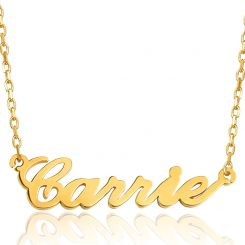 COI Gold Tone Titanium Custom Name Pendant With Stainless Steel Chain-5309