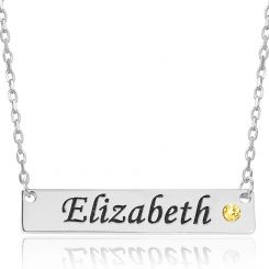 COI Titanium Custom Name Cubic Zirconia Pendant With Stainless Steel Chain-5311