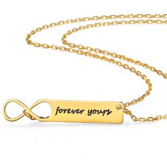 COI Gold Tone Titanium Infinity Custom Name Pendant With Stainless Steel Chain-5315