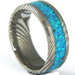 COI Tungsten Carbide Damascus Crushed Opal Beveled Edges Ring-5318