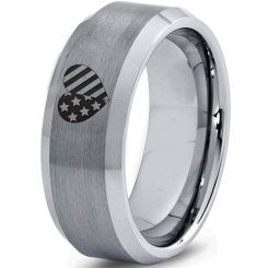 COI Tungsten Carbide America Heart Beveled Edges Ring-5331
