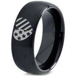 COI Black Tungsten Carbide America Heart Dome Court Ring-5334
