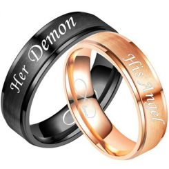 COI Tungsten Carbide Her Demon/His Angel Step Edges Ring-5335